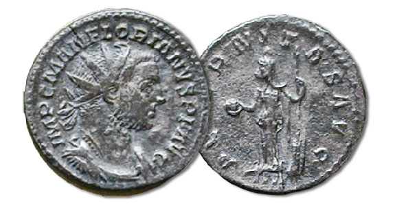 Antoniniani. Florianus with the reverse of Eternity standing with a globe and rudder, 3.6 grams, RIC 2, 276 C.E