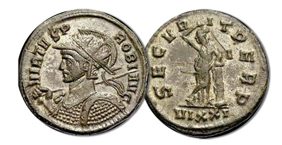 Antoniniani. Probus with the reverse of Securitas leaning on a column, 3.36 grams, RIC 526, 281 C.E.