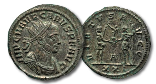 Carus with reverse of emperor receiving victory on globe from Jupiter, 3.91 grms, RIC 125, 282 C.E