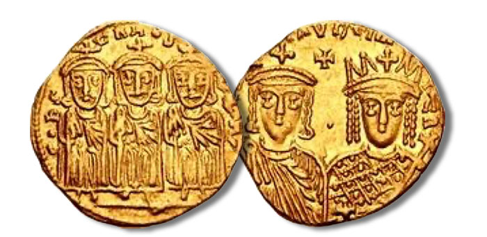Constantine VI & Irene, with Leo III, Constantine V, and Leo IV. 780-797. AV Solidus (19.5mm, 4.38 g, 6h)