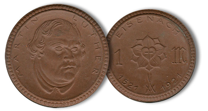 1921 Eisenach Notgeld. Martin Luther on obverse. Image: Heritage Auctions.