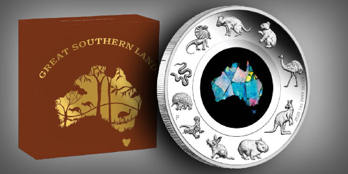 Perth Mint Coin Profiles - Australia 2020 Great Southern Land 1oz Silver Proof Opal Coin