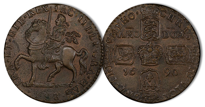 IRELAND. Gun Money Crown, 1690. James II. PCGS AU-55 Gold Shield. Price Realized: $480 (1/2019) Image: PCGS.