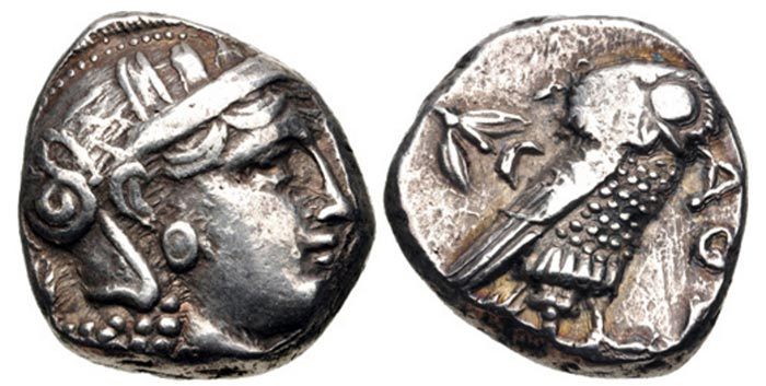 Late Classical Style Athenian Tetradrachm (post 393 BCE) - tight flan