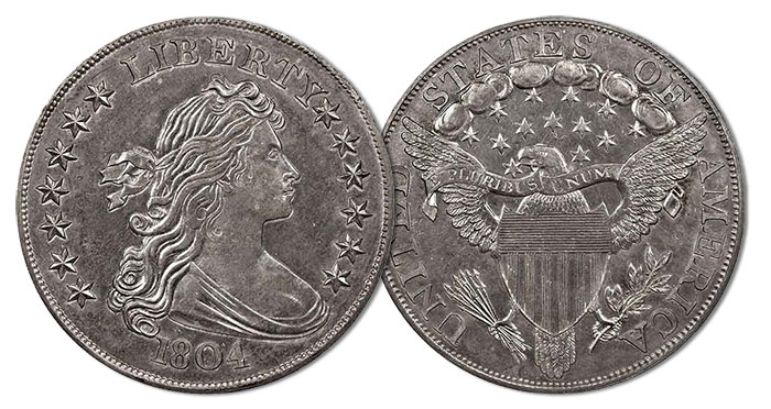 The Linderman Specimen of 1804 Silver Dollar, du Pont Collection. Image: PCGS.