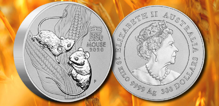 Perth Mint - Australia 2020 Year of the Mouse 10 Kilo Silver Bullion Coin