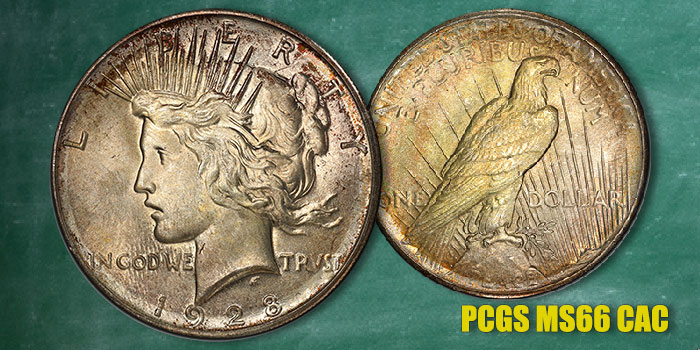 Key 1928 Peace Dollar in MS-66 CAC at GreatCollections.com