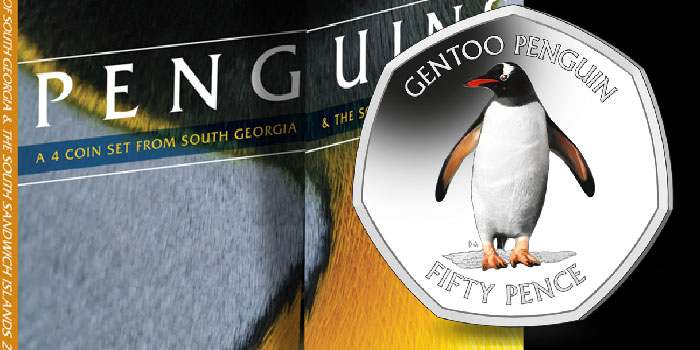 Gentoo Penguin on 2nd Coin in 50p Series From South Georgia and South Sandwich Islands