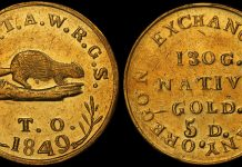 "1849 OREGON ""BEAVER"" $5.00 GOLD COIN GRADED PCGS MS62, IMAGE COURTESY OF PCGS, DOUG WINTER"
