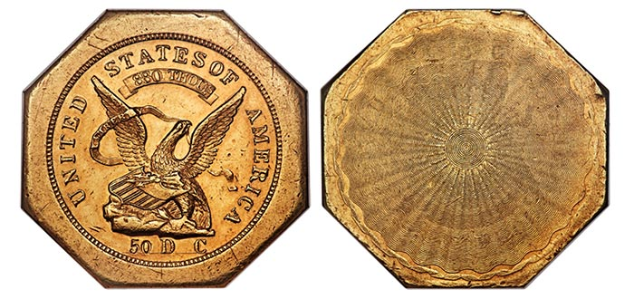 1851 Humbert $ 50 in gold.  Picture: Heritage.