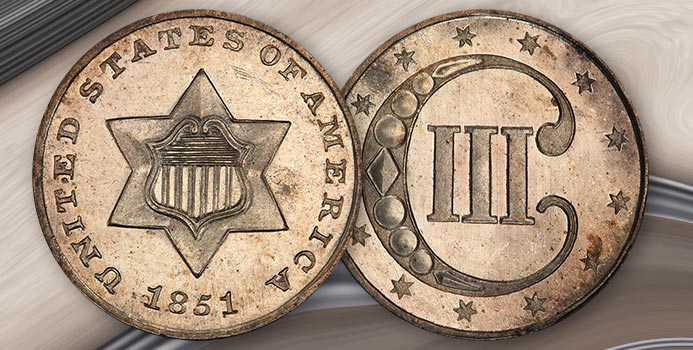 1851 Three Cent Silver Piece in Proof. Image: PCGS / Adobe Stock.