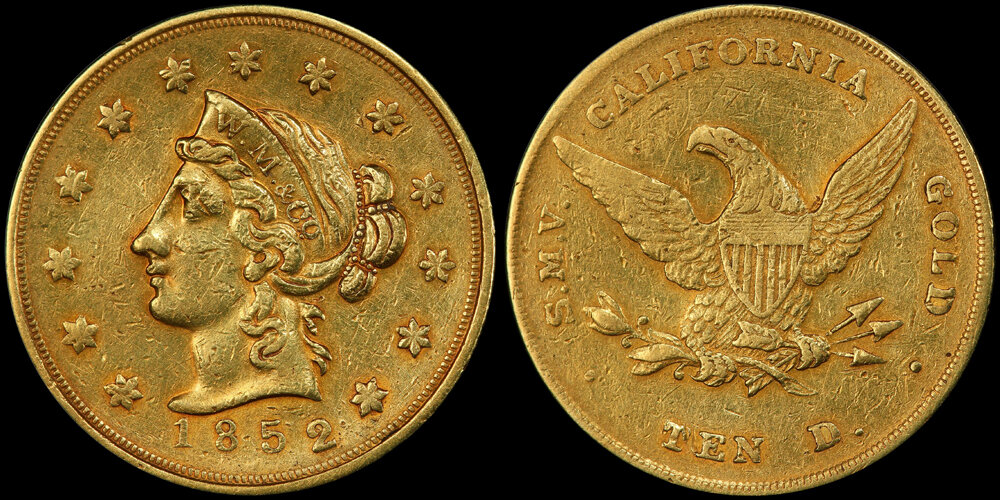 1852 WASS, MOLITOR & CO. LARGE HEAD $10.00, PCGS AU50; IMAGE COURTESY OF PCGS COINFACTS