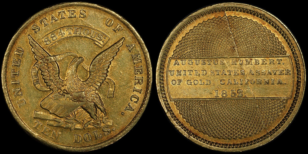 1852/1 HUMBERT $10.00 PCGS AU55; IMAGE COURTESY OF PCGS COINFACTS