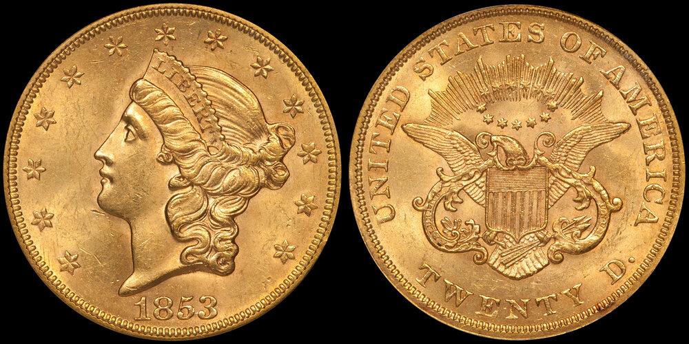 1853 $20.00 PCGS MS62, EX BASS COLLECTION. Images courtesy Doug Winter Numismatics - Type I Double Eagle