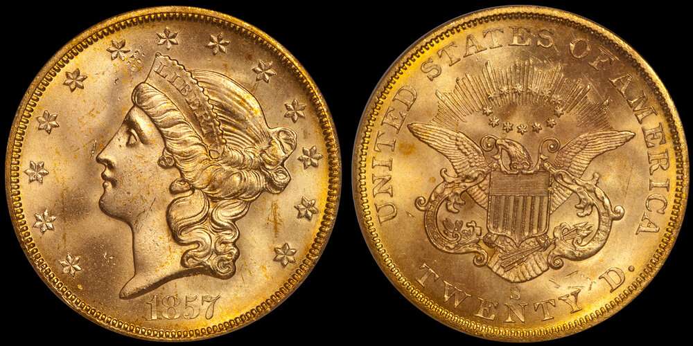 1857-S $20.00 PCGS MS65 CAC, EX SS Central America. Images courtesy Doug Winter Numismatics - Type I Double Eagle