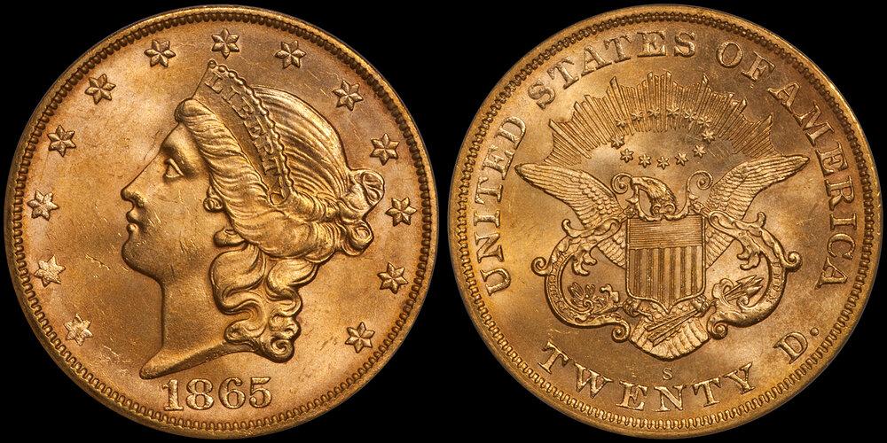 1865-S $20.00 PCGS MS64 CAC, EX SS Brother Jonathan. Images courtesy Doug Winter Numismatics - Type I Double Eagle.