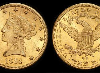 1884-CC $10 Liberty Head eagle PCGS MS-62+