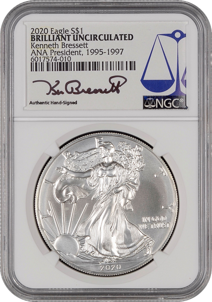 2020 American Silver Eagle NGC ANA President Signature label