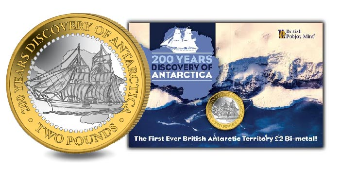 1st Antarctic Territory £2 Bimetallic Coin Commemorates 200 Years Since Discovery of Antarctica