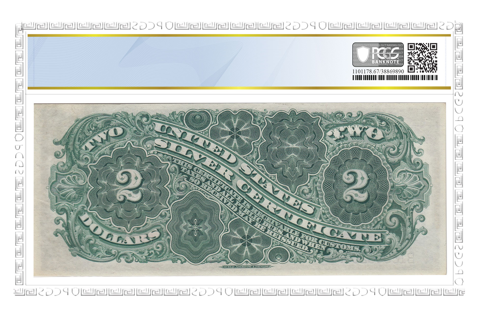 Reverse of Series of 1886 $2 Silver Certificate. Superb Gem UNC 67 PPQ. Image courtesy PCGS