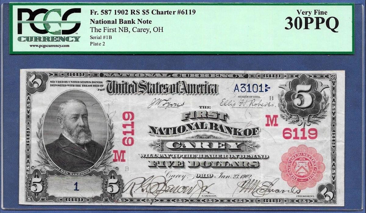 The following note was stolen from a USPS package being shipped to Carey, Ohio. Stolen Note $5 National Bank Note Fr. 587 1902 RS Charter #6119 S#1B. Image courtesy Numismatic Crime Information Center (NCIC), Doug Davis