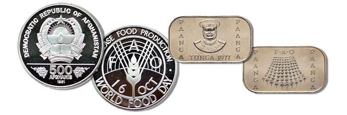 Left: 1981 Afghanistan 500 Afghanis in Proof. FAO. Right: 1977 Tonga Pa'Anga. FAO.