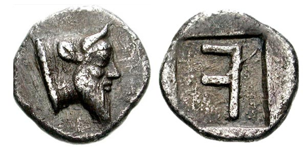 "Figure 2: Akarnanian Confederacy, Stratos, hemidrachm, Achelous obverse with retrograde ""F"" on the reverse in an incuse, BCD Akarnania 1, 2.66 gms, 430-420 B.C.E. Image: CNG."