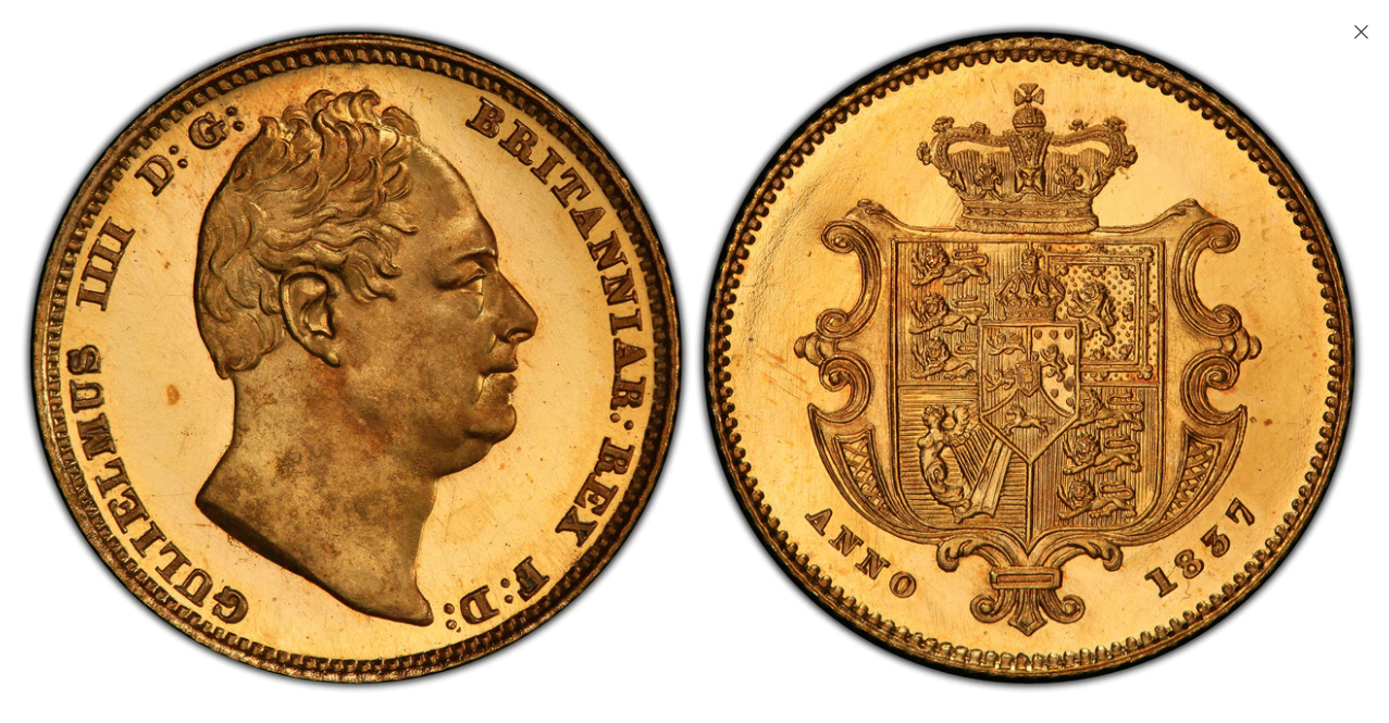 GREAT BRITAIN. William IV. (King, 1830-1837). 1837 AV Mule or Pattern Half-Sovereign. PCGS PR66 Cameo. Atlas Numismatics