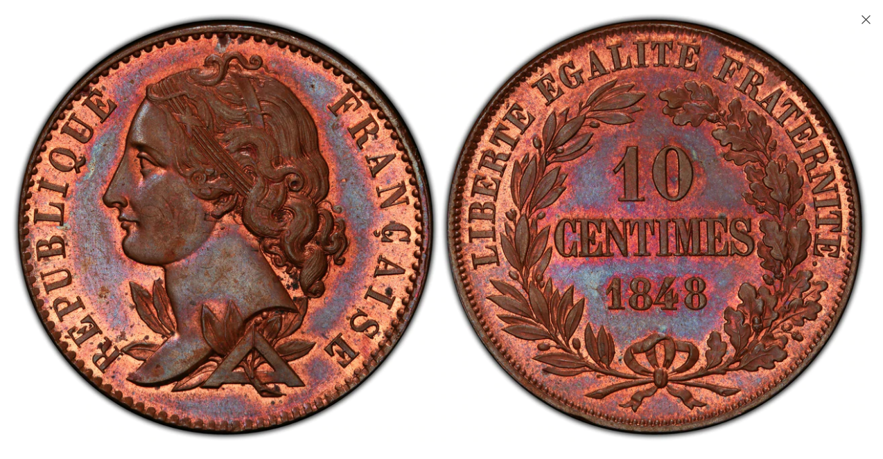FRANCE. 2nd Republic. (1848-1852). 1848 CU Essai 10 Centimes. PCGS SP65+RB (Red-Brown). Atlas Numismatics