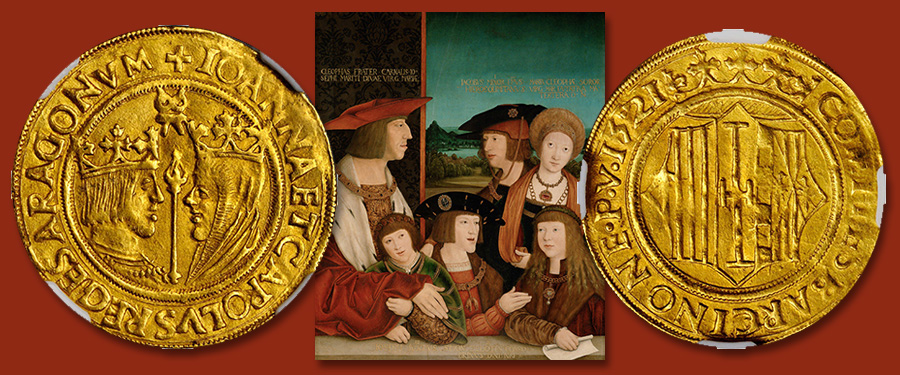 World Coin Auction: A Spanish Gold Double Principats of Charles and Joanna. Images courtesy Stack's Bowers Auctions