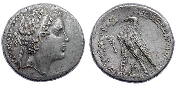 Selukid Empire. Antiochos V Eupator 164-162BC. AR Fouree Tetradrachm (27mm 12.73g) Ake-Ptolemais mint.