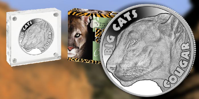"""Cougar Celebrated on Last Coin in """"Big Cats"""" 2 oz Silver Coin Series"""