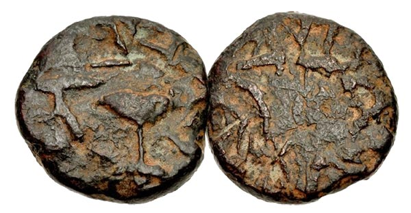 JUDAEA, Jewish War. 66-70 CE. Æ (20mm, 7.62 g). Gamla mint.