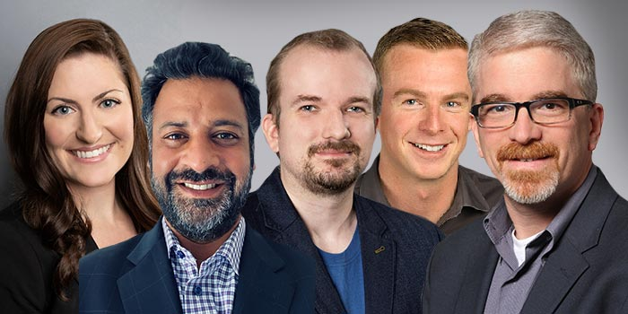 From left to right: Stephanie Sabin, Sanjay Gandhi, Cory Williams, Jack Fitch, and Dave Steinberger.