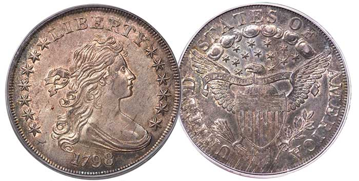 1798 Draped Bust dollar (B-27, BB-113), Ex: Eliasberg graded MS64 PCGS. Image: Heritage Auctions.