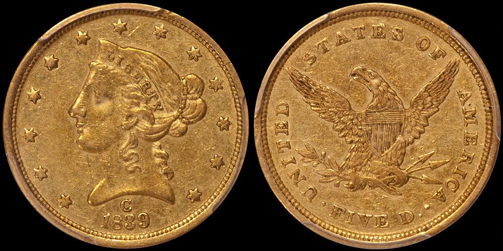 1839-C $5.00 PCGS AU50 half Eagle -  Images courtesy Douglas Winter Numismatics