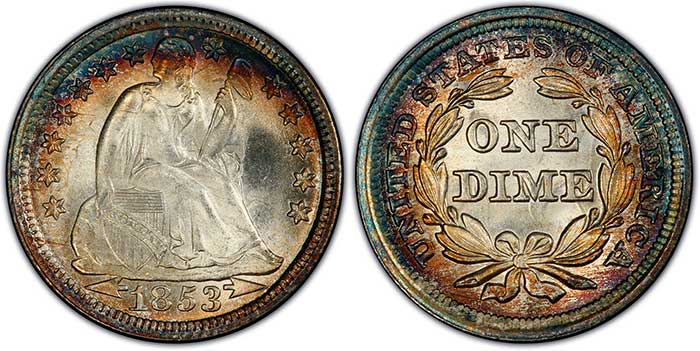 "1853 ""with arrows"" dime. Image: PCGS."