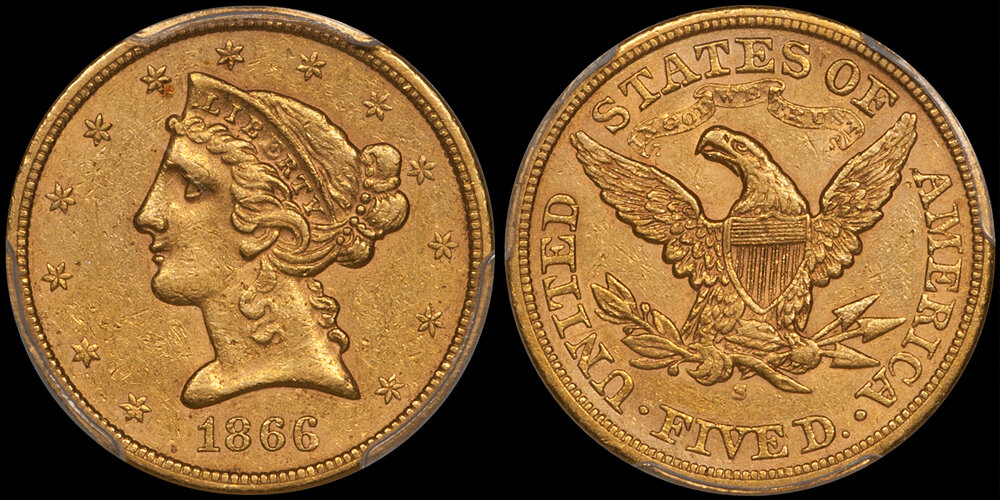 1866-S WITH MOTTO $5.00 PCGS AU55 CAC. Images courtesy Doug Winter