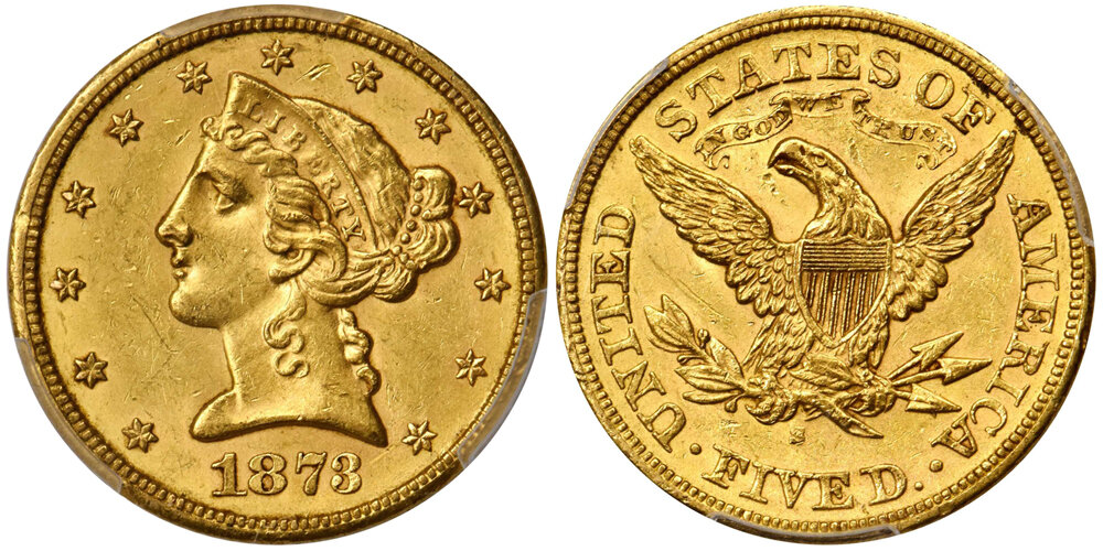 1873-S $5.00 PCGS MS61 CAC; Lot 1438, courtesy Stack's Bowers. Liberty Head Half Eagle.