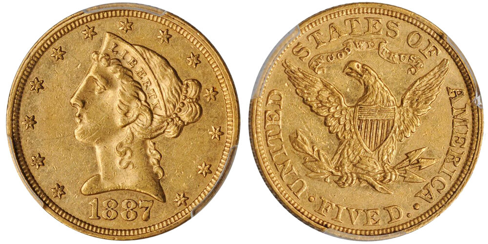 1887 $5.00 PCGS PR55 CAC, IMAGE COURTESY OF STACK'S BOWERS. Liberty Head Half Eagle.