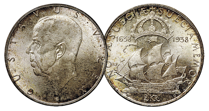 Sweden 2 Kronor, Delaware Anniversary. Images: Heritage Auctions