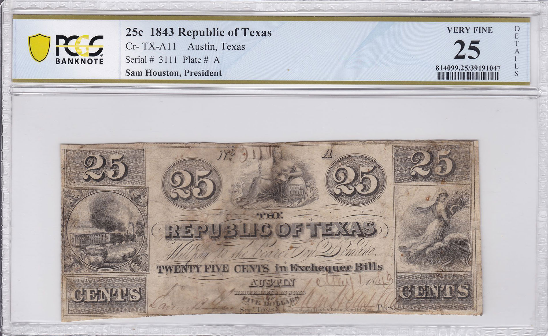 1843 25¢ Exchequer Bill, Republic of Texas, VF25 Details Minor Rust and Restoration. Image courtesy PCGS