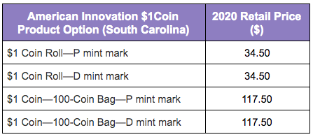 United States Mint 2020 American Innovation $1 Coin - South Carolina product option table