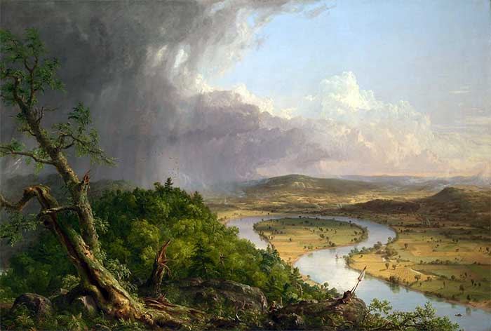 Thomas Cole (1801–1848) of the Hudson School, The Oxbow, View from Mount Holyoke, Northampton, Massa-chusetts, after a Thunderstorm (1836), Metropolitan Museum of Art
