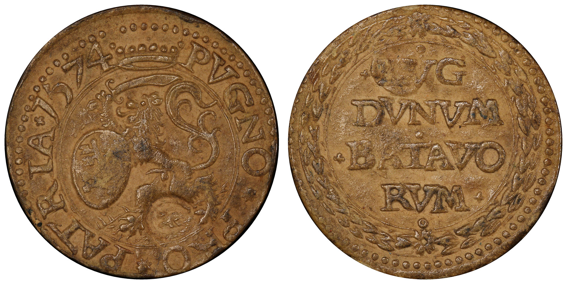 The Paper Money Coin of 1574 - The First Paper Money of Europe: Netherlands Leiden 1574 Siege ¼ Gulden, PCGS XF40