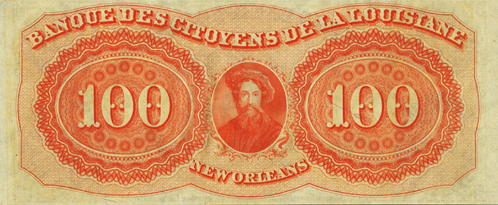 New Orleans, LA- Citizens' Bank of Louisiana $100 18__ G48a. Image: Heritage Auctions