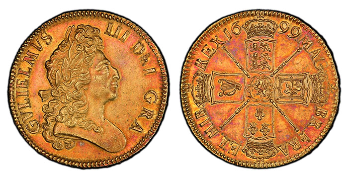 Beautifully Toned 1699 Five Guineas - Atlas Numismatics