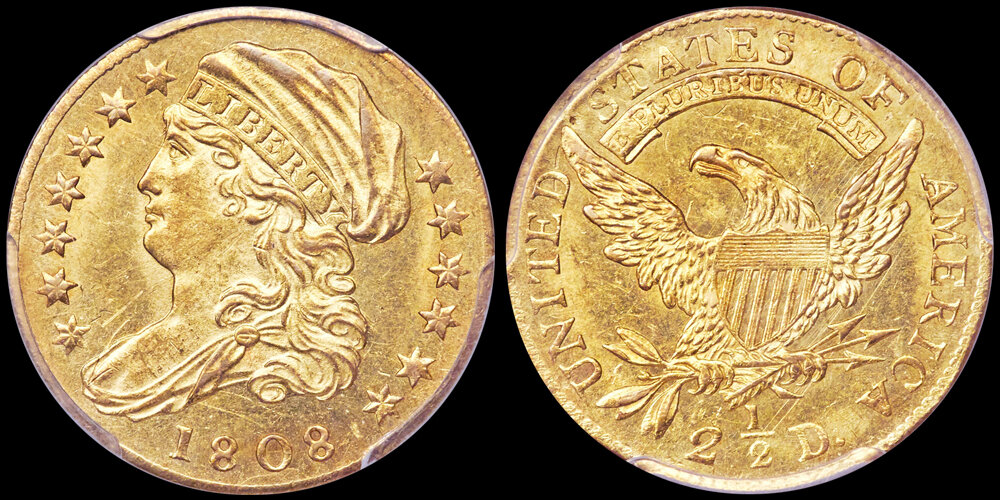 1808 $2.50 PCGS MS63 CAC. US Gold Coin Images courtesy Heritage Auctions