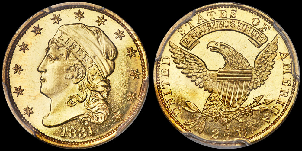 1831 $2.50 PCGS PL66+. US Gold Coin Images courtesy Heritage Auctions