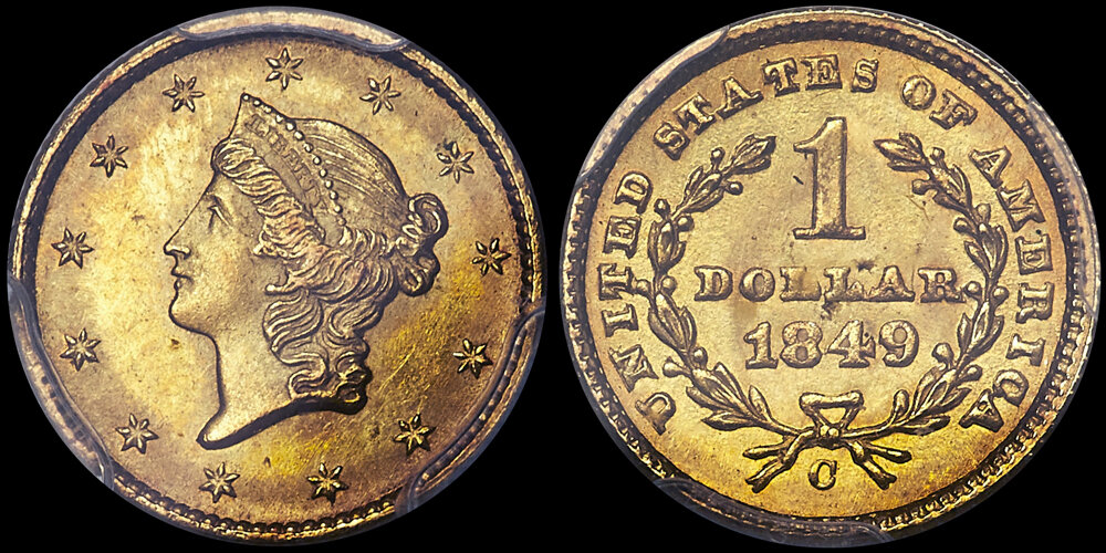 1849-C CLOSED WREATH $1.00 PCGS MS64 CAC. US Gold Coin Images courtesy Heritage Auctions